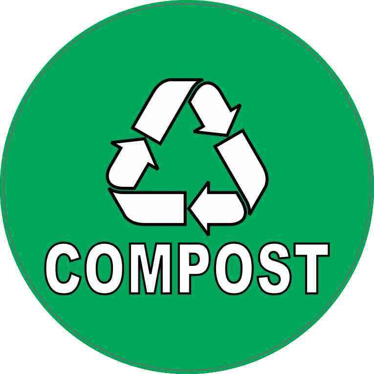 """10/"""" in. Compost Recycle Bin Vinyl Decal Stickers Blue"""