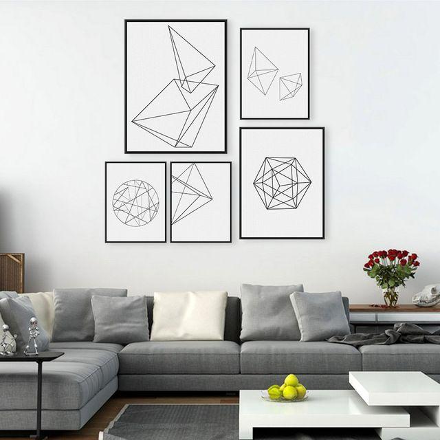 Minimaliste noir géométrique forme a4 grande affiche impression abstraite moderne mur art photo hipster nordique maison