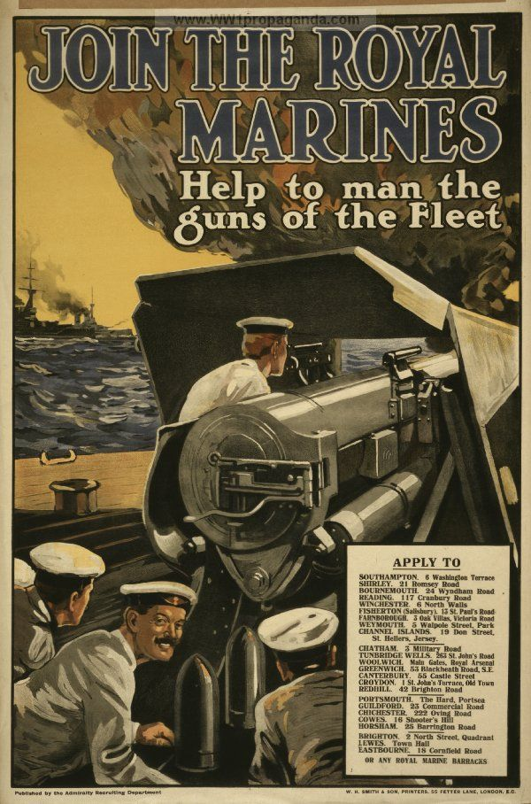 Examples of propaganda from ww1 ww1 marine posters page 2 world war i pinterest ww1 - Royal marines recruitment office ...