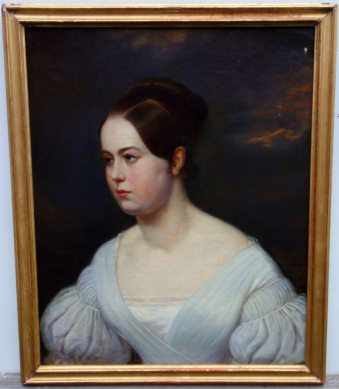 Détails sur Portrait de femme Epoque Louis Philippe HST