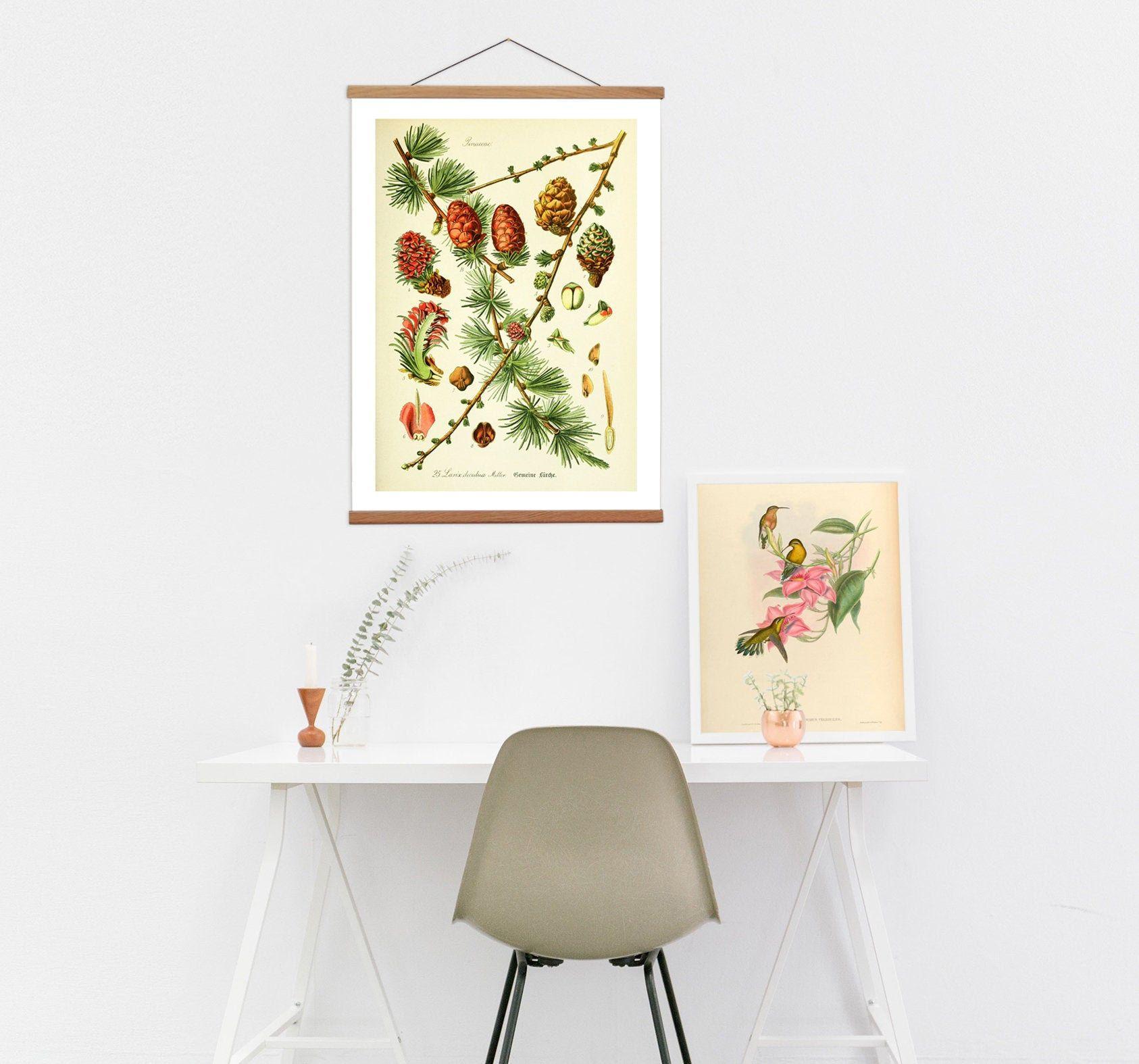 Vintage Botanical Canvas Hanging and Wooden Hanger Art