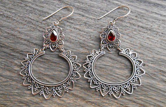 Balinese Sterling Silver dangle Earrings  2.65 inches long   Bali handmade jewelry  silver 925 #156e