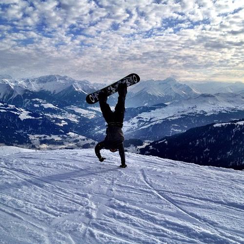 snowboard handstand
