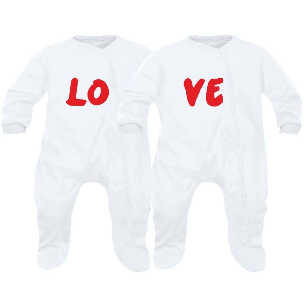 577e2dfb449e7 2 pyjamas bébé jumeaux et jumelles   LOVE