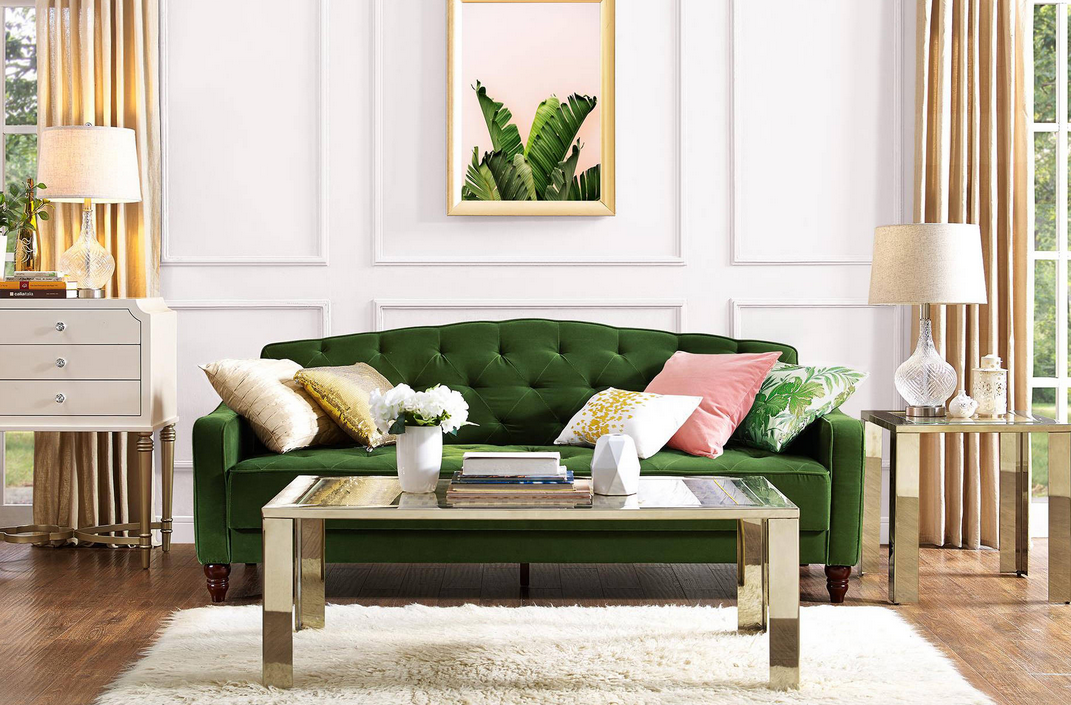 Heres Our Brand New Green Tufted Futon Avail On Provided