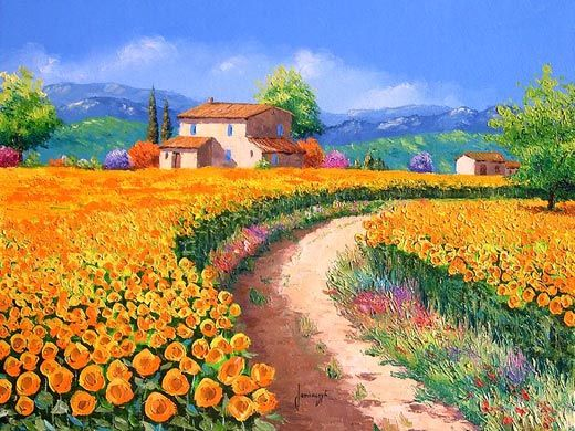 Bright Paintings Bright Yellow Landscape Sunflower Path Palette Oil Painting Landscape Landscape Prints Landscape Paintings Oil Painting Landscape