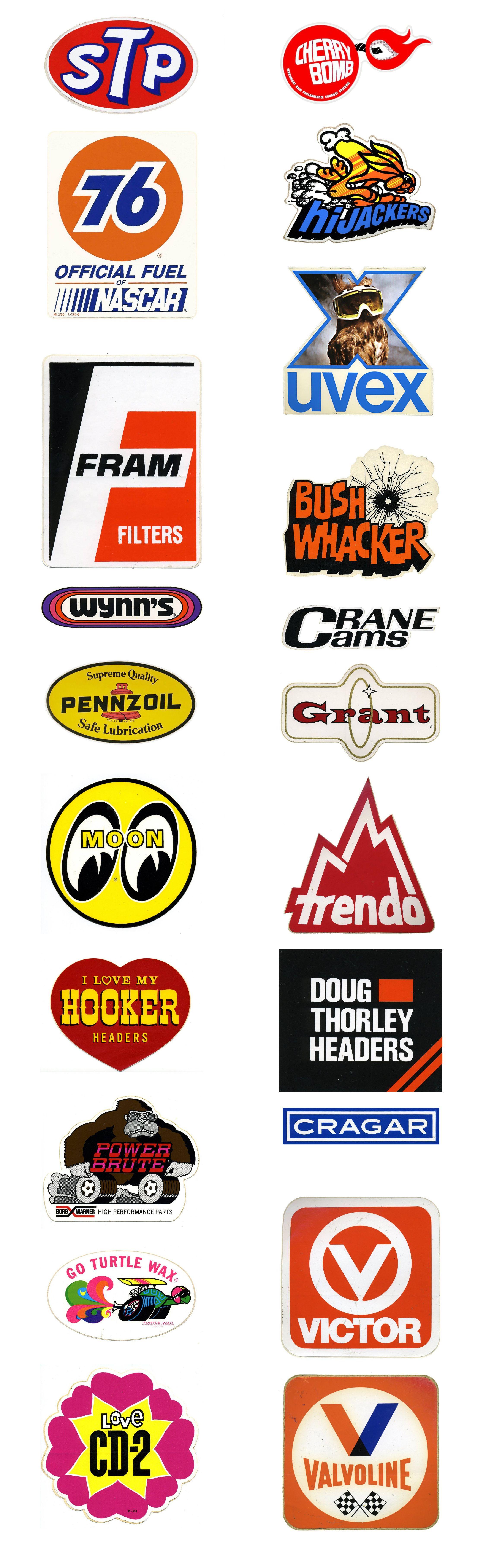 Vintage Car Racing Logos & Car Brand Decals & Stickers