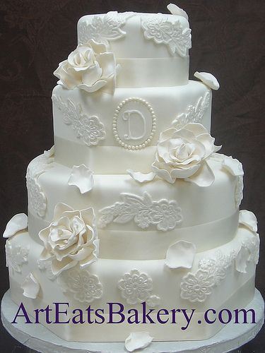 ... Modern Custom Wedding Cake With Flower Lace, Sugar Roses, Rose Petals,  Monogram, Pearls And Ivory Ribbons Design Art Eats Bakery Greenville , SC,  ...