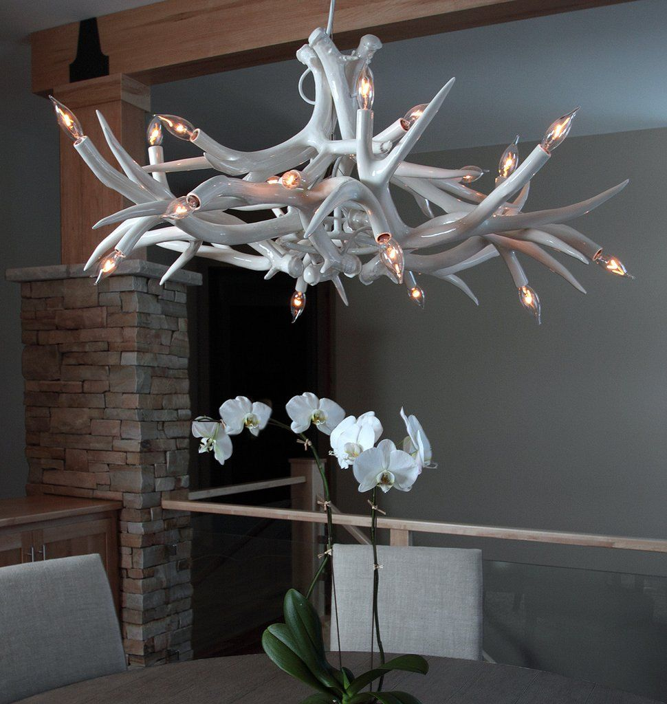 Chandelier 12 antlers white private residence brookfield superordinate antler chandelier 12 antlers white image by eroy reyall designed by jason miller for roll hill mozeypictures Image collections