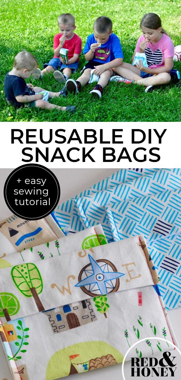 DIY Reusable Snack Bags. How to make homemade easy fabric food bags for kids to take to school or use at home. So if you are looking for simple ways to reduce plastic waste, recycle tips and ideas that are better for the environment. #recycle #home