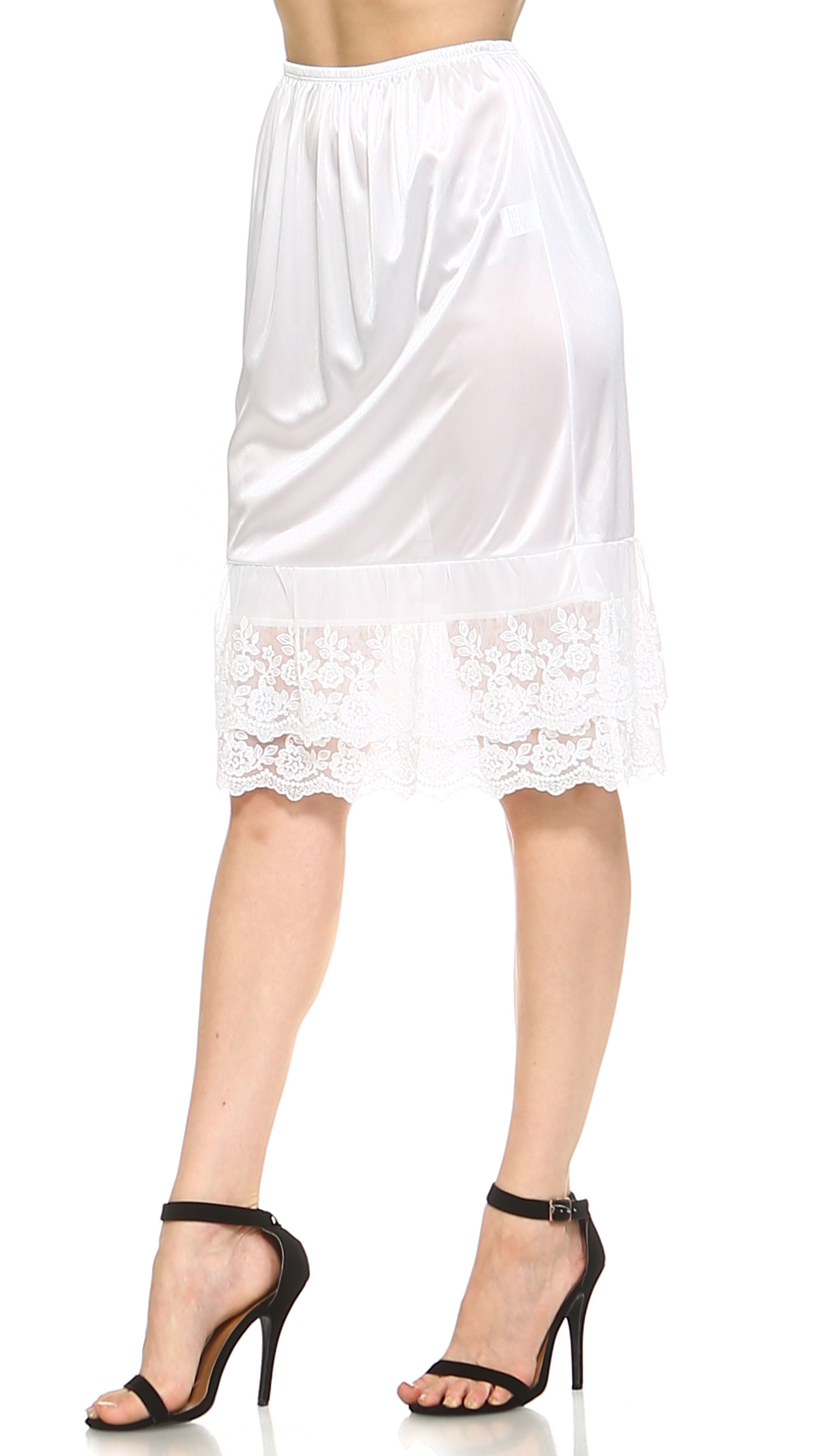 31709b8f3428 Women's Long Double Layered Lace Satin Skirt Extender Underskirt Half Slip# Layered, #Lace, #Double