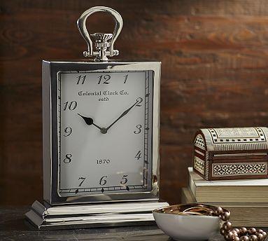 Oversized Silver Clock Clock Mantle Clock Pottery Barn