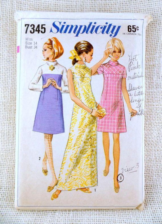Vintage pattern Simplicity 7345 dress bias yoke Bust 34 1960s A line ...
