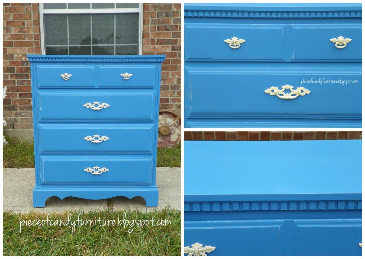 Blue Dresser Distressed To Show Cream. Then Painted Cream Handles.  PieceOfCandyFurniture In Houston,