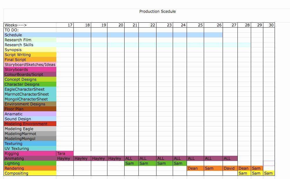 Film production schedule template fresh best s of