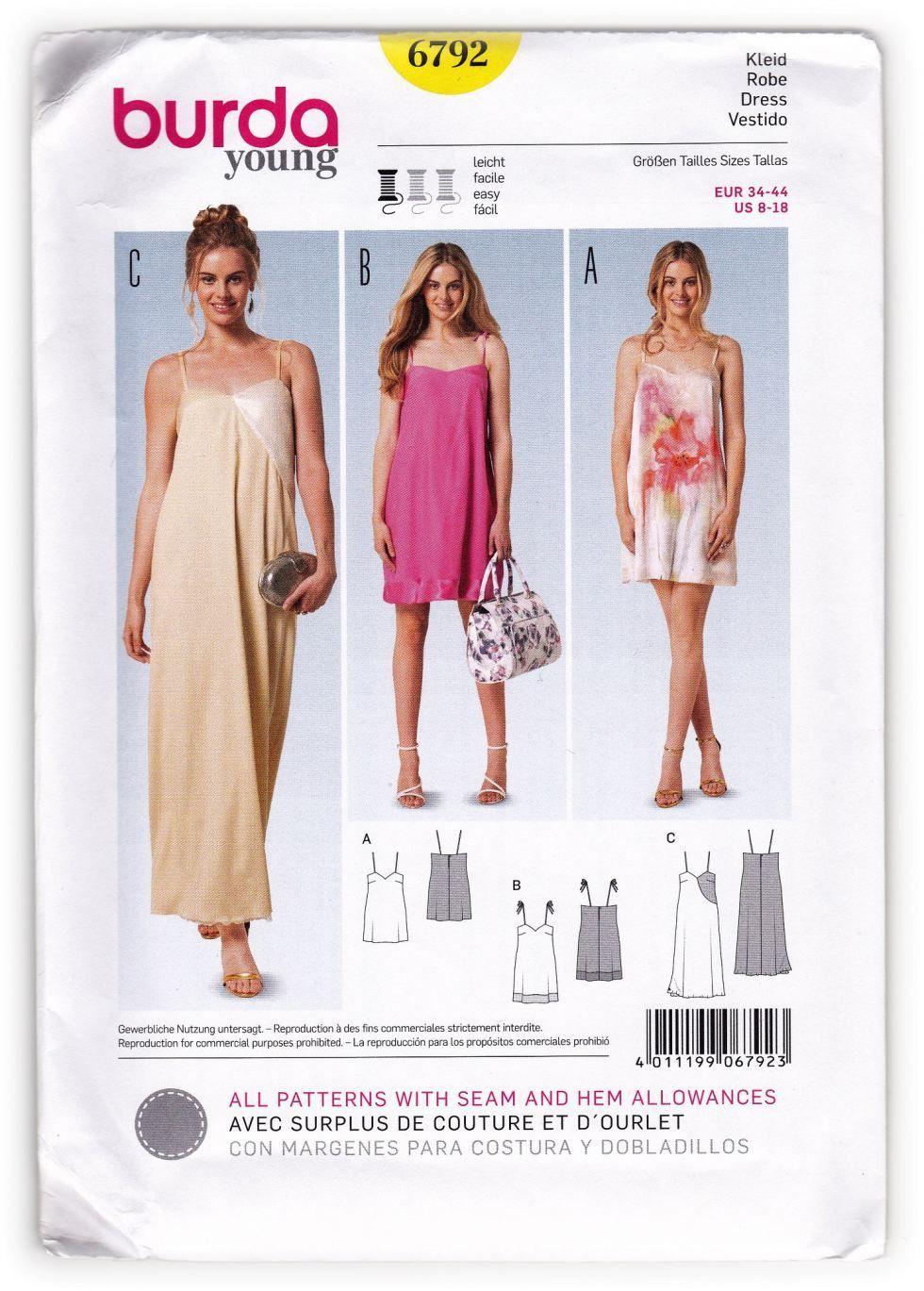 Young Women\'s Slip Dress Sewing Pattern Burda 6792 Miss 8-18 | Burda ...