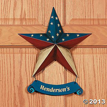 Personalized Patriotic Star Door Hanger Patriotic