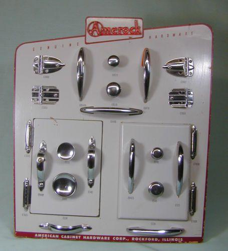 Vintage-Wood-Amerock-Store-Advertising-Display-Chrome-Kitchen-Door-Handles-Knobs