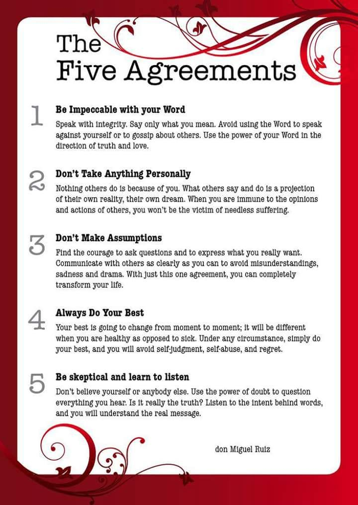 The Five Agreements  Words And Memes