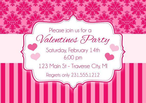 Damask Valentines Invitation  Valentines Day Party Invitation