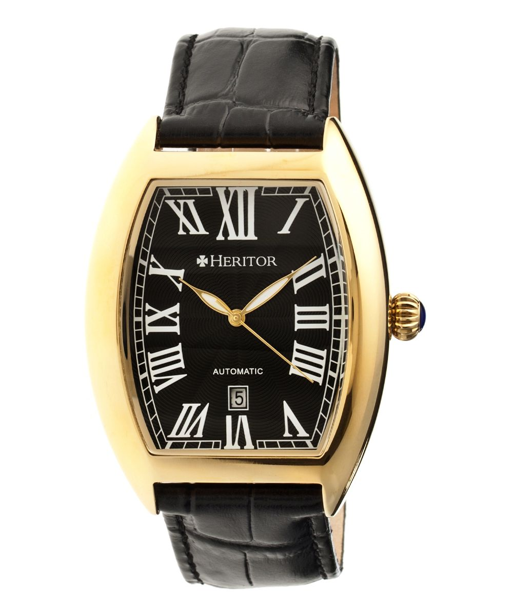 Goldtone & Black Redmond Automatic Leather-Strap Watch