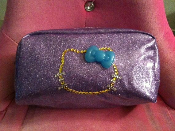 Plastic purple glitter make up bag with by GirlyBlngSparklyThng, $20.00