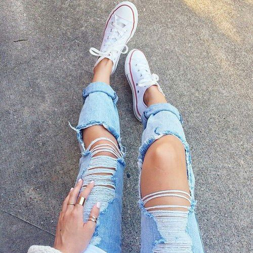 Image via We Heart It #denim #girl #grunge #rippedjeans #tumblr ...