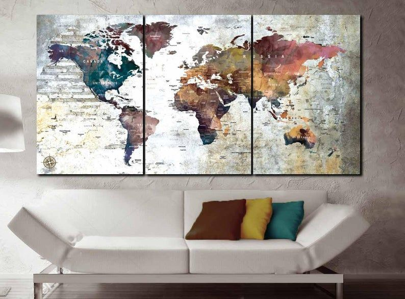 World Map 3 Piece Canvas Push Pin Map World Maplarge World Etsy In 2020 World Map Art Map Wall Art World Map Wall Art