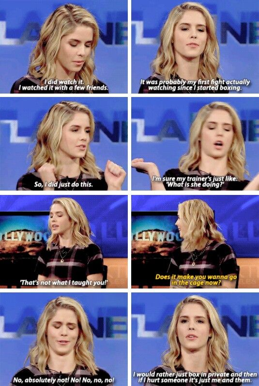 Emily Bett Rickards Talking about the UFC 193: Rousey vs Holm Fight.
