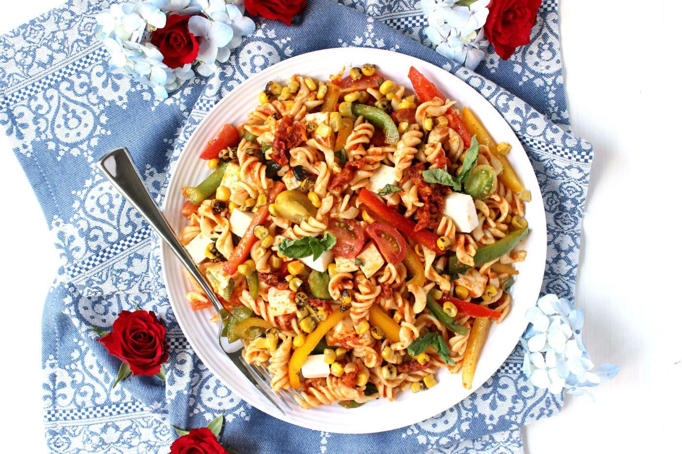 Easy Summer Harvest Pasta Salad w/ Sun-dried Tomato Purée & Smoked Mozzarella