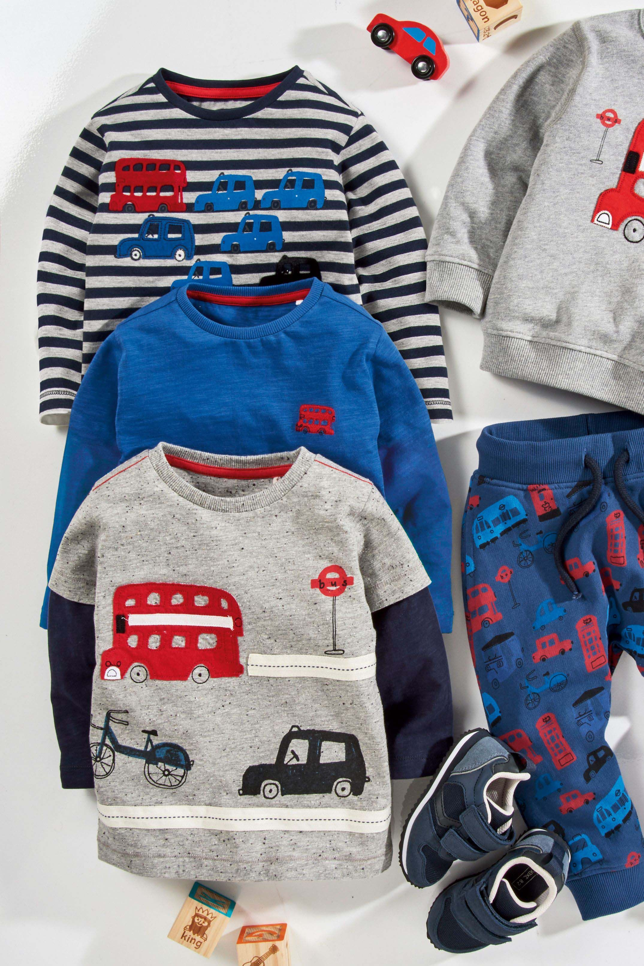 Boys Next Multi Transport Long Sleeve Top Three Pack (3mths