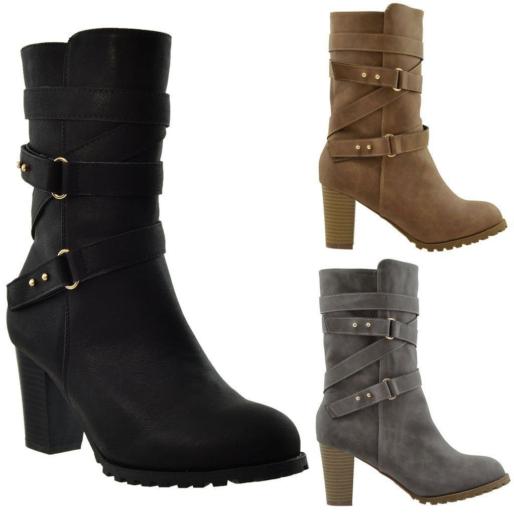 Kids Knee High Boots Ruched Leather Strappy Buckle Zip Accent Low Heel Shoes
