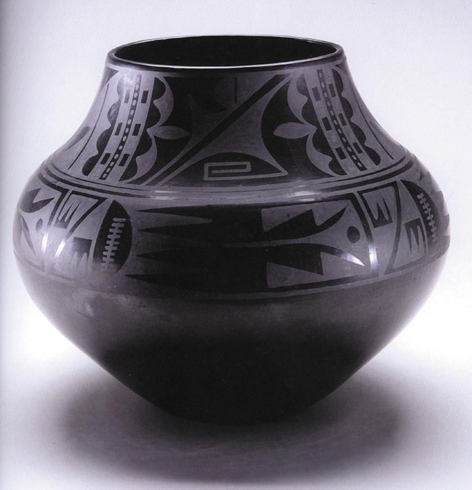 Puebloan: Maria Martinez, Black-on-black ceramic vessel