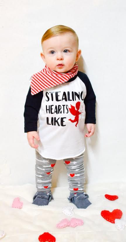 Baby Boy Valentines Day Shirt Stealing Hearts Like Cupid First