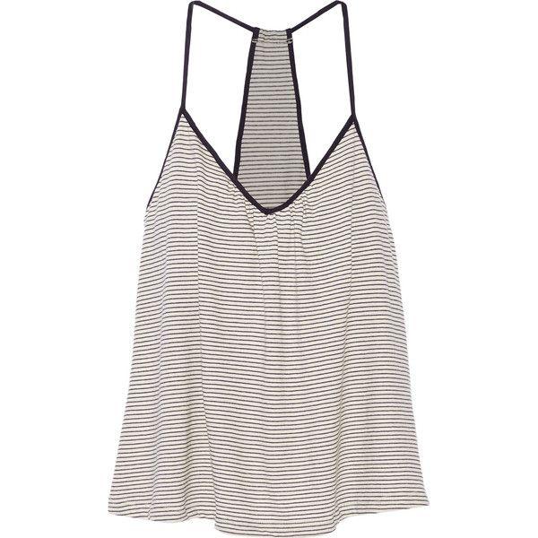 Eberjey Naval striped cotton-blend pajama top (275 NOK) ❤ liked on Polyvore featuring intimates, sleepwear, pajamas, tops, nightwear, midnight blue, balconette bra, striped pjs, striped pajamas and pj tops
