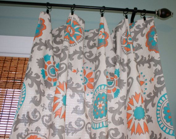 Premier Prints Mandarin Curtain Panel Custom Drapery In Creme Orange Turquoise And Grey On Etsy 170 00