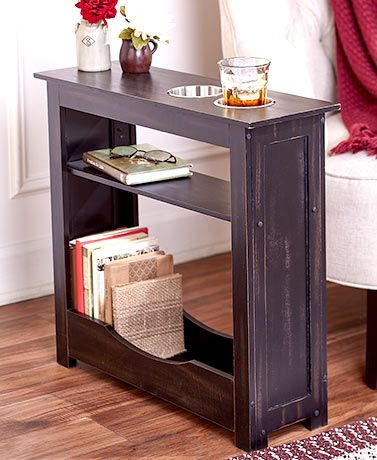 Slim Rustic Side Table With Cup Holders Rustic Side Table Diy Side Table Upcycle Home