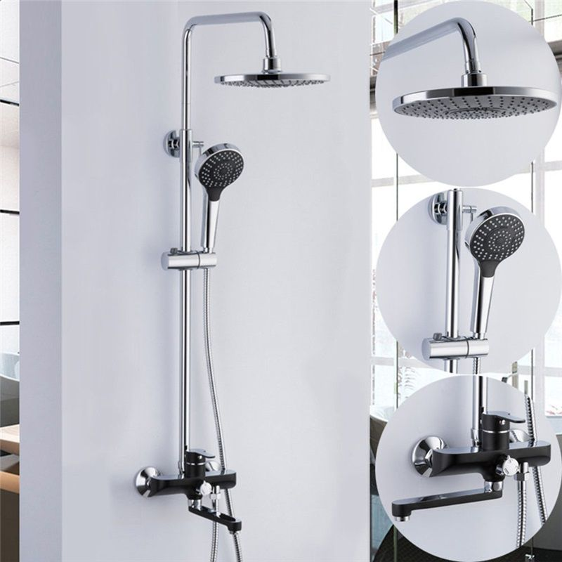 Wall Mount Shower System Modern Exposed Shower Faucet With Black