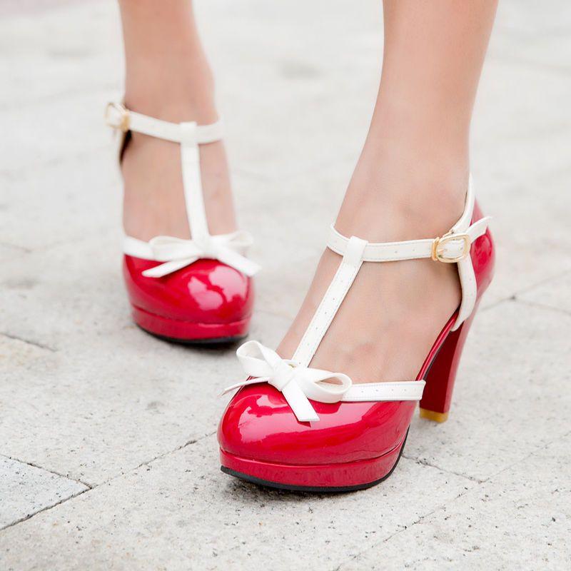 Women Sweet Lolita High Heels Pumps Shoes Ankle Strap Bowknot Mary Jane Platform