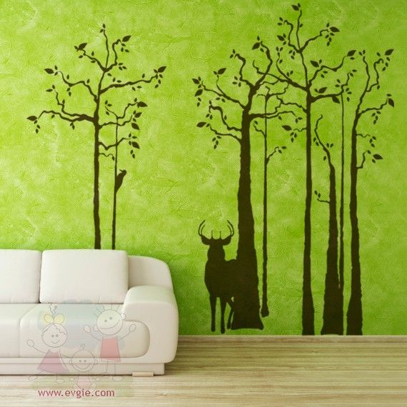 Vinyl Decal Deer Silhouette In The Forest