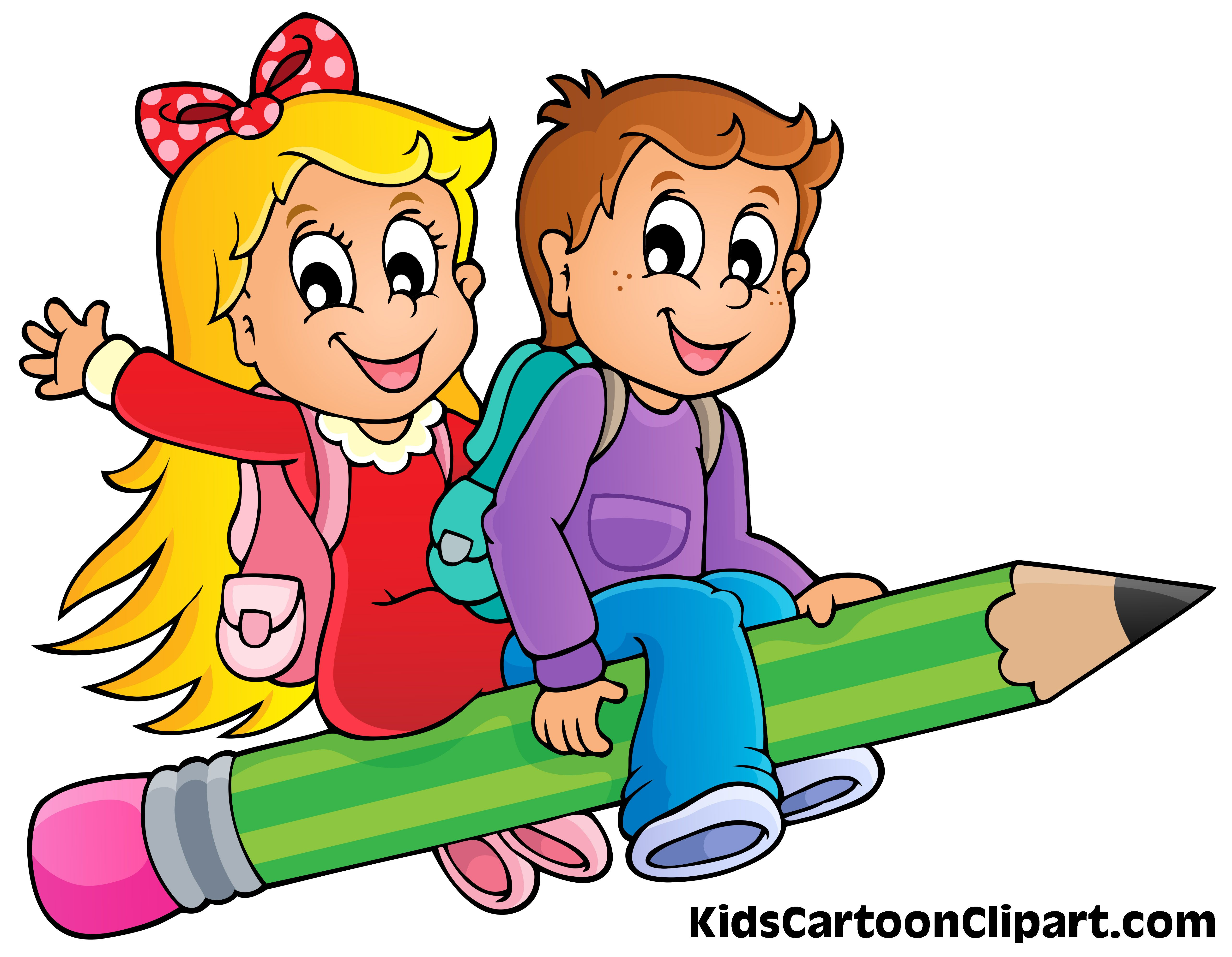A Cute Boy And Girl Cartoon Flying On Pencil With School