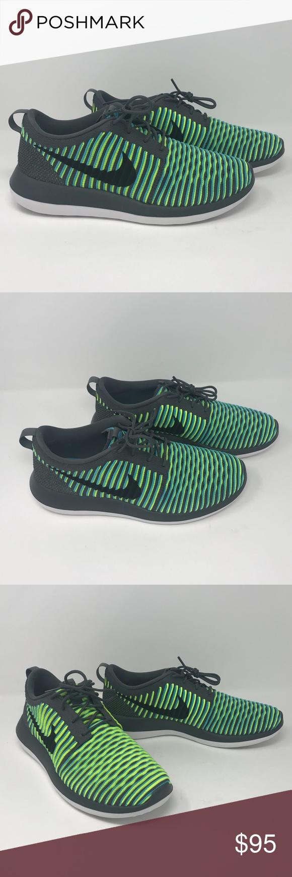 Nike Roshe Two Flyknit Men s Running Shoes Nike Roshe Two Flyknit Men s  Running Shoe Size  11 Color  Dark Grey   Black   Gamma Blue   Volt  Condition  New ... 40982864e