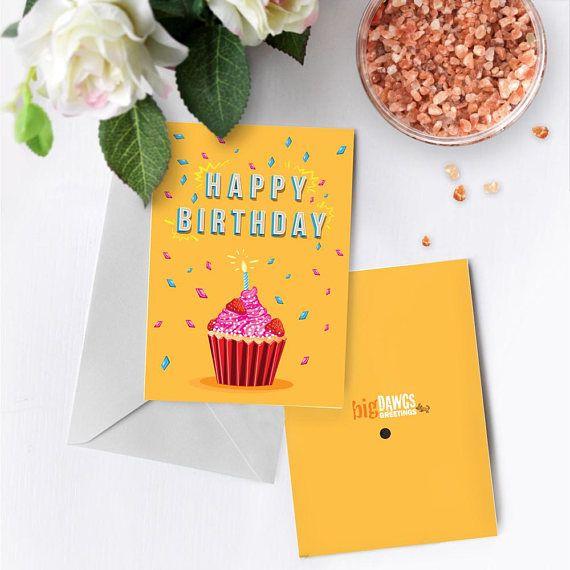 Cupcake Birthday Card With Music Birthday Greeting Card Etsy Musical Greeting Cards Musical Birthday Cards Cupcake Birthday Cards