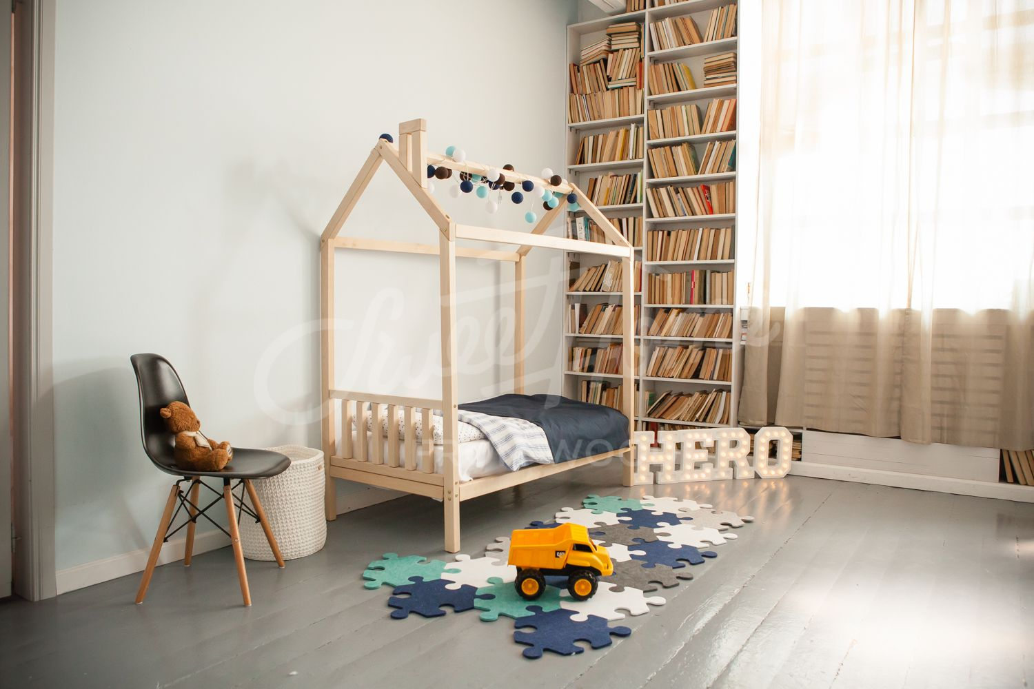Wood house bed frame, children bed, wooden bed, bed house, home bed ...