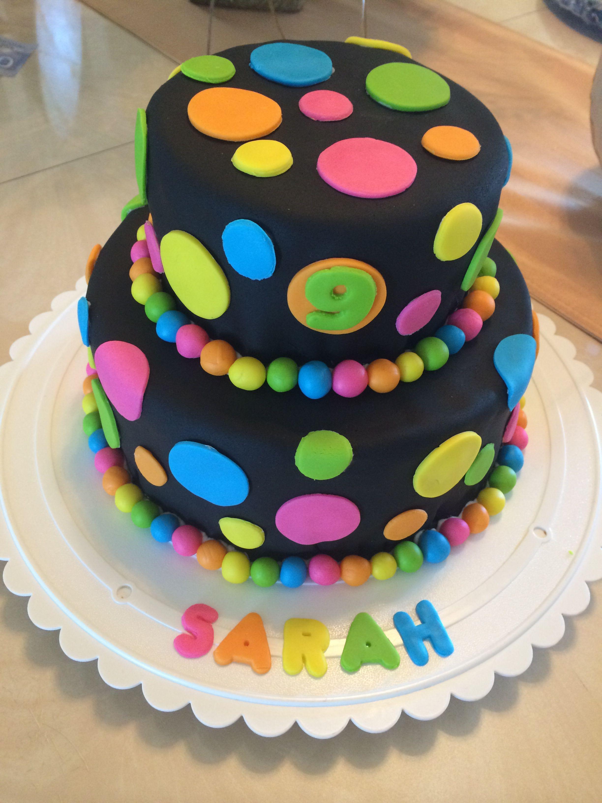 Neon polka dot birthday cake
