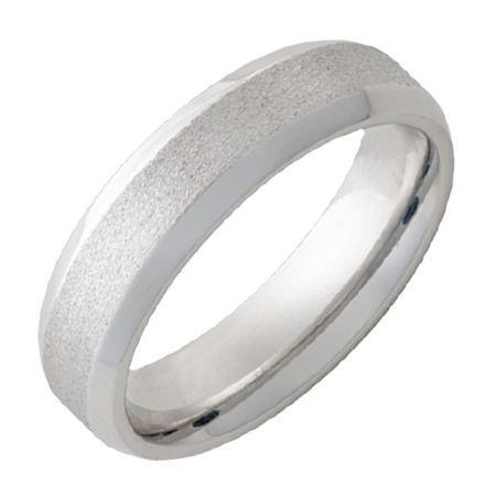 Serinium® Men's Band - Beveled Polished Edge with Stone Finish Center