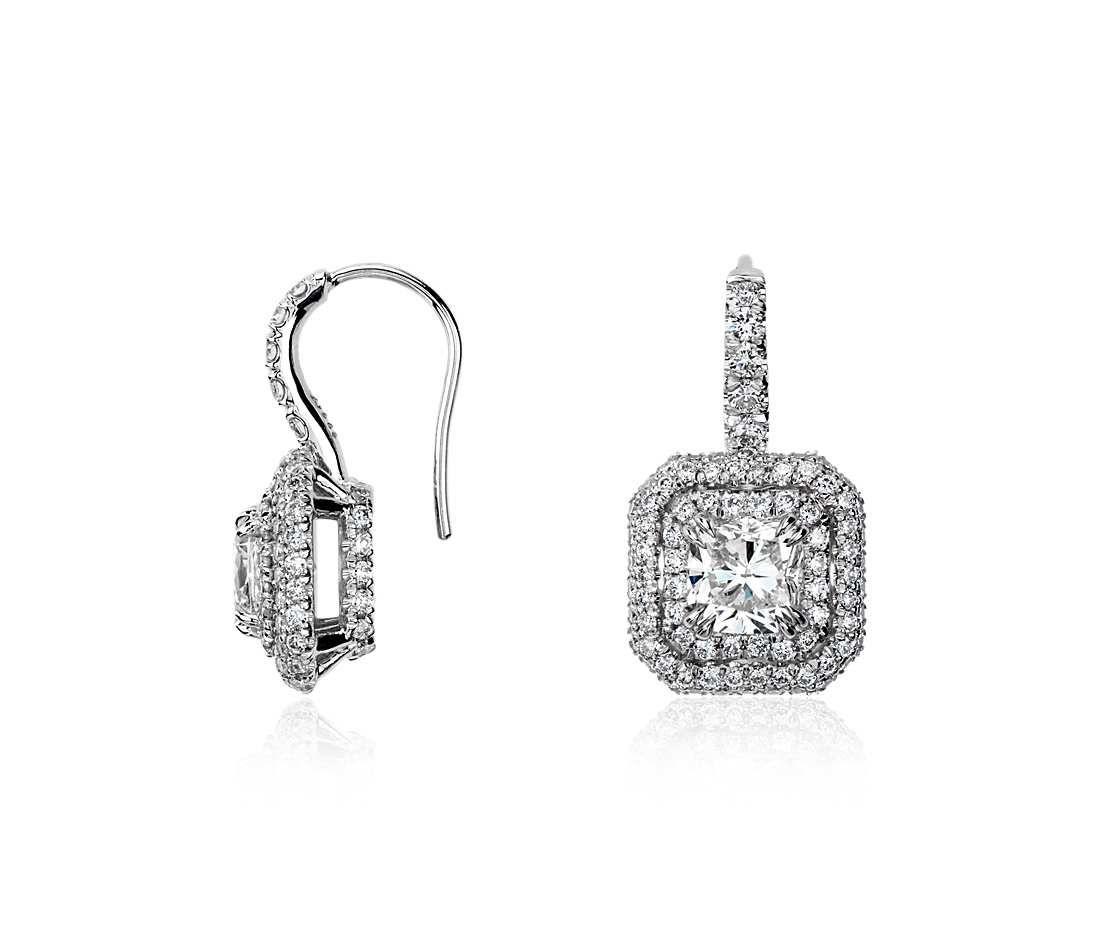 Cushion Cut Diamond Double Halo Drop Earrings In 18k White
