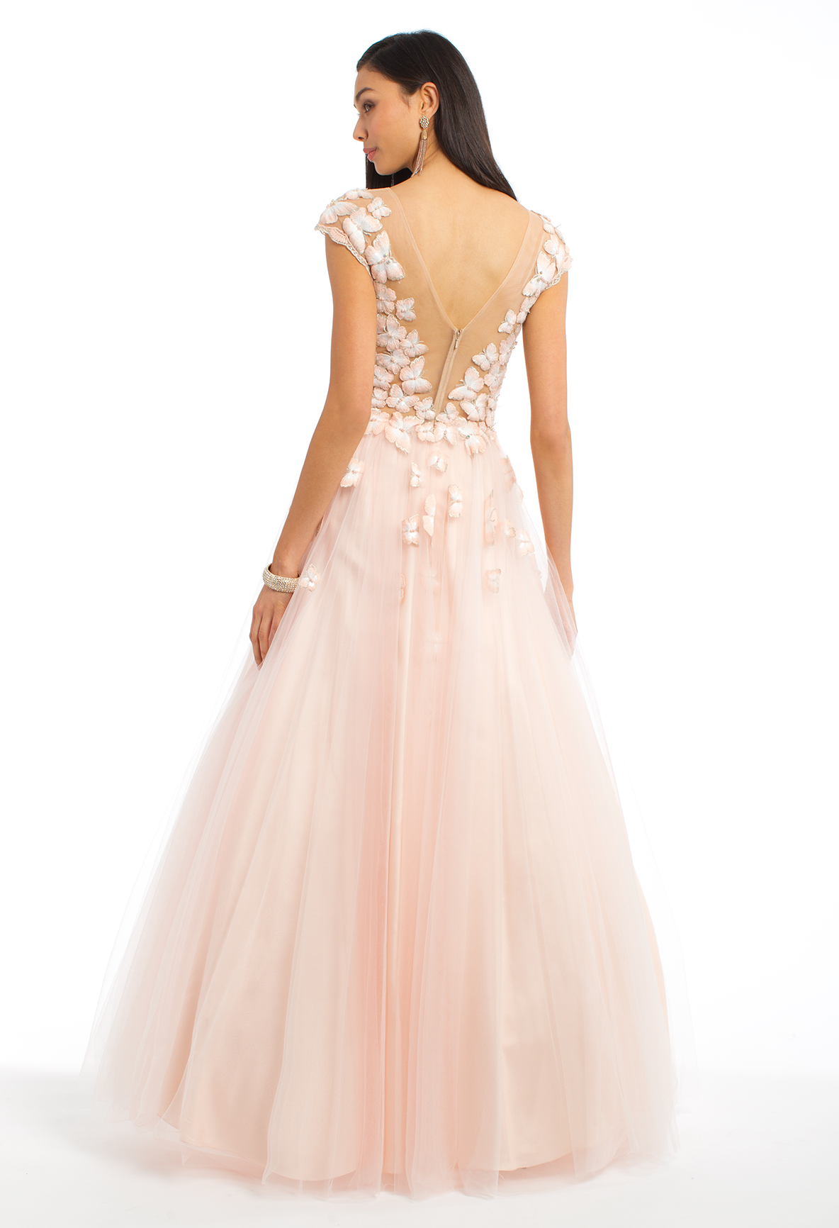 e417f5e80d Prepare to feel like a princess all evening in this ball gown dress! The  features of this dreamy evening gown include an illusion neckline with cap  sleeves