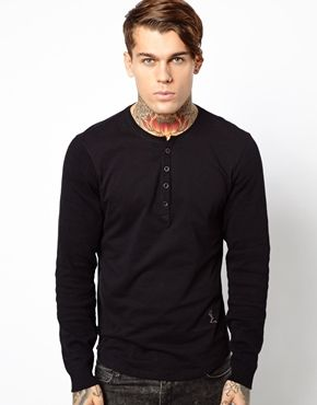 Religion Long Sleeve T-Shirt with Button Down Neck | Fashion ...