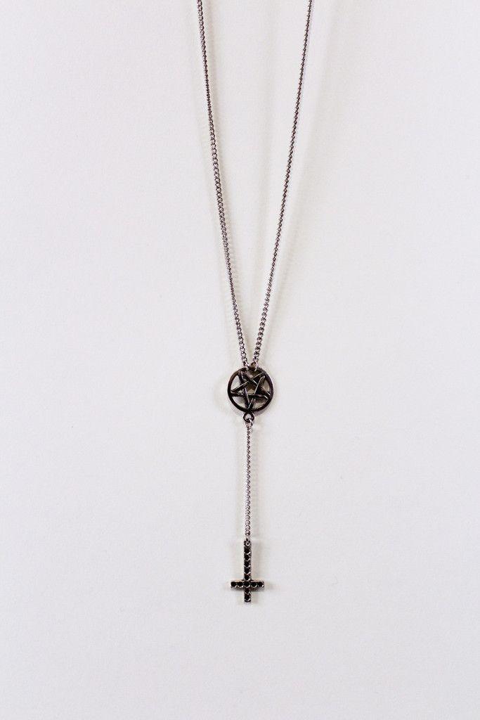 Pentagram Inverted Cross Rosary www.gritnglory.com